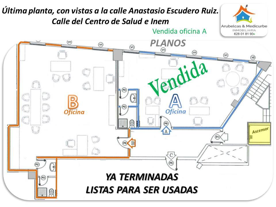 VENDIDA LA OFICINA A / LA OFICINA B SIGUE EN VENTA en la última planta del Edificio COHERLE