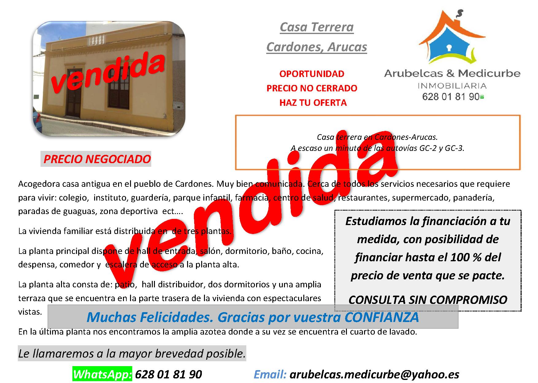 VENDIDA CASA TERRERA EN CARDONES-ARUCAS