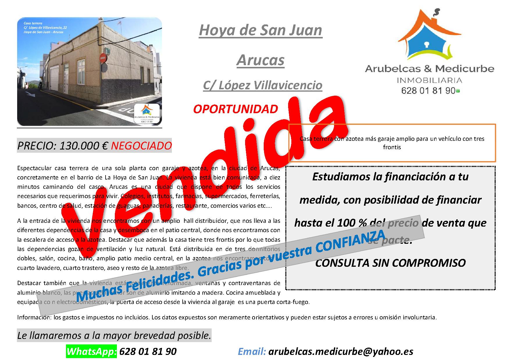 VENDIDA CASA TERREA EN EL BARRIO DE LA HOYA DE SAN JUAN-ARUCAS