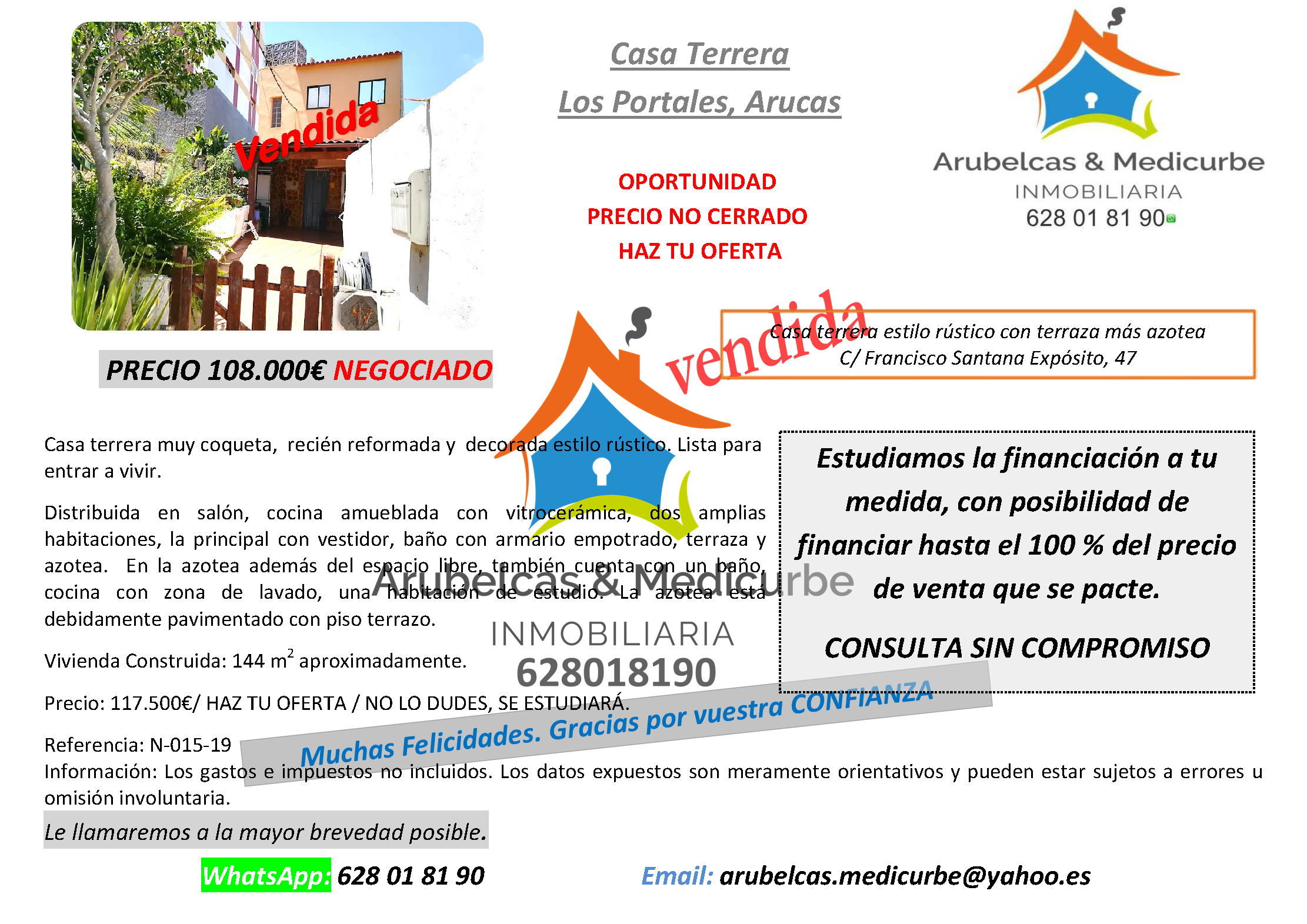 VENDIDA Casa Terrera en los Portales-Arucas