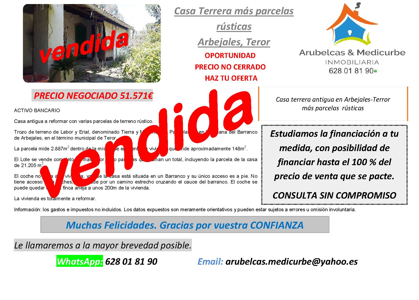 VENDIDA CASA ANTIGUA CON TERRENO ARBEJALES – TEROR