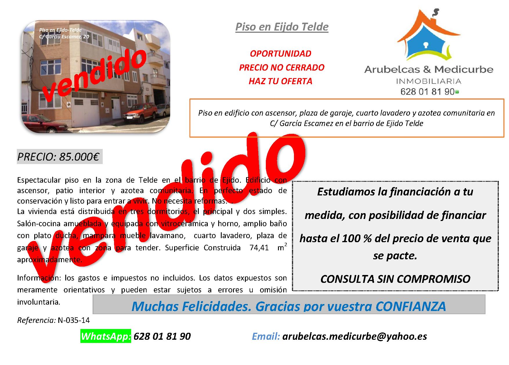 85.000€ VENDIDO PISO EN EJIDO-SAN GREGORIO-TELDE