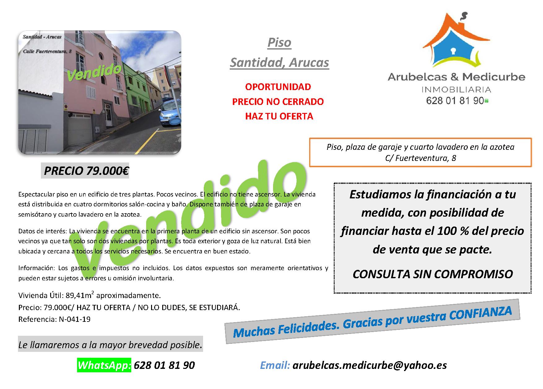 VENDIDO Piso con Garaje en  SANTIDAD – ARUCAS