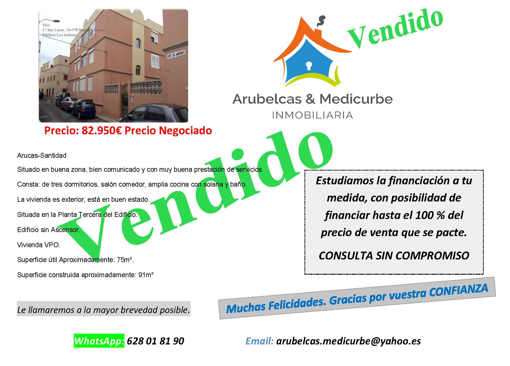 VENDIDO Piso en Santidad-Arucas