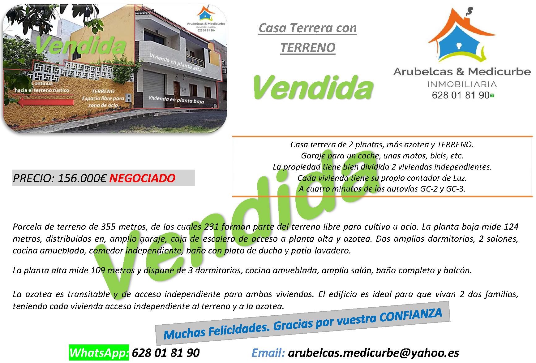 VENDIDA 156.000€ Visvique – Arucas